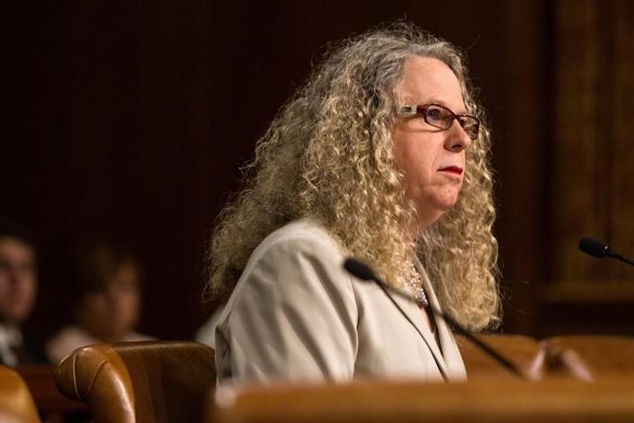 Dr. Rachel Levine speaks during her confirmation hearing for Physician General by the Senate Public Health and Welfare Committee Wednesday, June 3, 2015 in Harrisburg, Pa. (James Robinson/PennLive.com via AP)