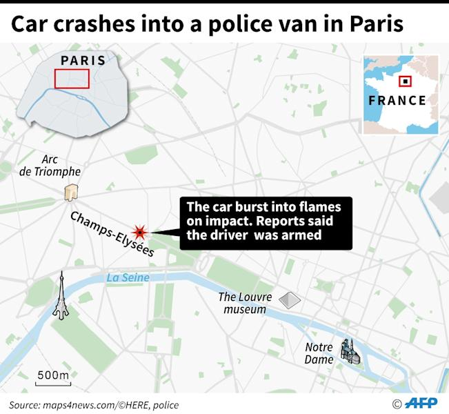 The attack took place on the world-famous Champs Elysees avenue (AFP Photo/Sophie RAMIS)