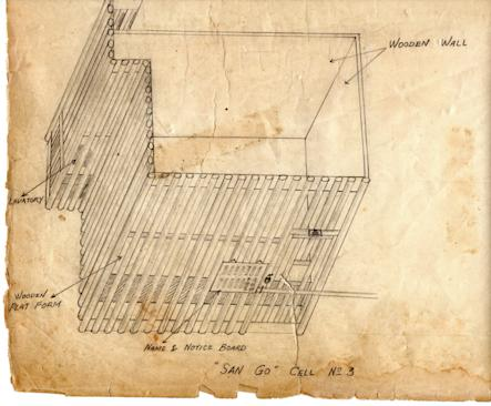 Henry Pringle's drawing of the prison cells in Bridge House.