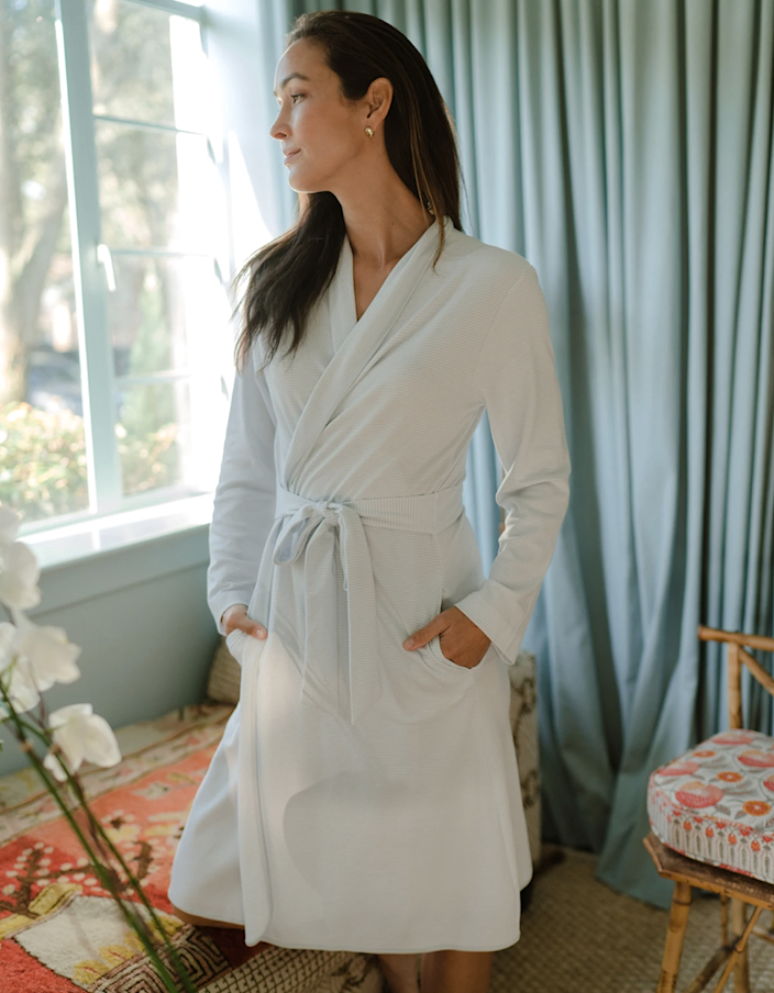 "If you're in the market for a lightweight robe that you can wear year-round, this is it. The Pima cotton is especially great if you have sensitive skin issues like <a href=""https://www.glamour.com/story/how-to-treat-eczema?mbid=synd_yahoo_rss"" rel=""nofollow noopener"" target=""_blank"" data-ylk=""slk:eczema"" class=""link rapid-noclick-resp"">eczema</a> since it's one of the softest materials on the market. $126, Lake. <a href=""https://lakepajamas.com/products/hydrangea-robe"" rel=""nofollow noopener"" target=""_blank"" data-ylk=""slk:Get it now!"" class=""link rapid-noclick-resp"">Get it now!</a>"