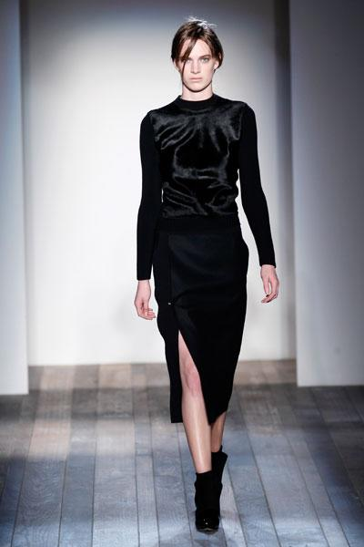 <b>Victoria Beckham AW13 at New York Fashion Week <br></b><br>Velvet was another key trend on the catwalk with this model donning a long-sleeved top in the fabric.<br><br>Image © Getty