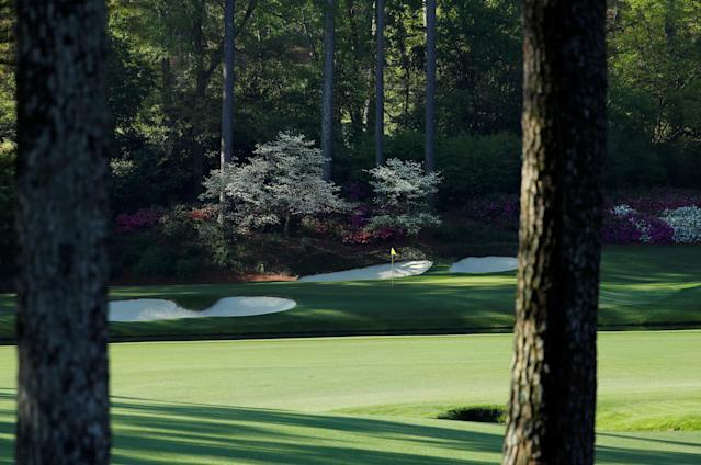 "The 12th hole is shown at ""Amen Corner,"" where golfers turn the corner on the 11th, 12th and 13th holes, at the Masters golf tournament at the Augusta National Golf Club in Augusta, Georgia, U.S. April 6, 2018. REUTERS/Jonathan Ernst"
