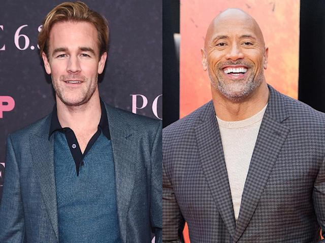 "James Van Der Beek is following in the footsteps of Dwayne ""the Rock"" Johnson by sharing a photo of him doing skin to skin with his newborn daughter. (Photo: Getty Images)"