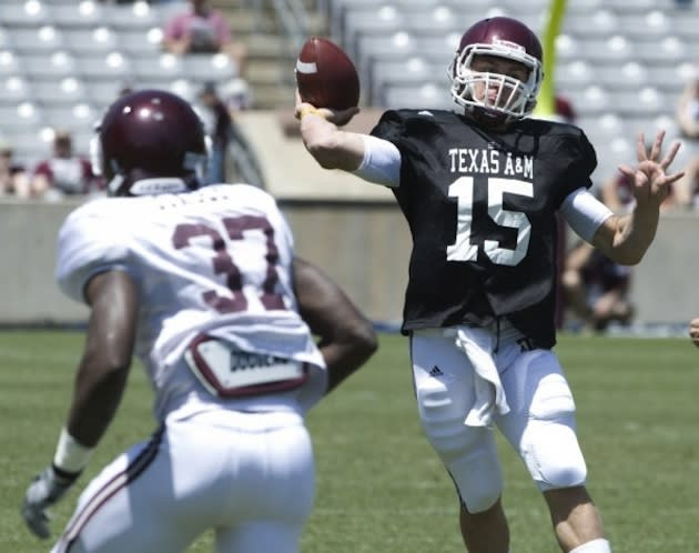 6dd5a0d33 Johnny Manziel isn t helping his cause in the race to be Texas A M s new  starting quarterback.
