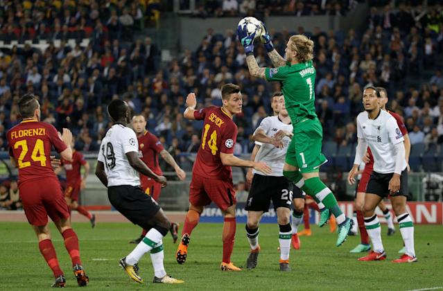 Soccer Football - Champions League Semi Final Second Leg - AS Roma v Liverpool - Stadio Olimpico, Rome, Italy - May 2, 2018 Liverpool's Loris Karius gathers the ball REUTERS/Max Rossi
