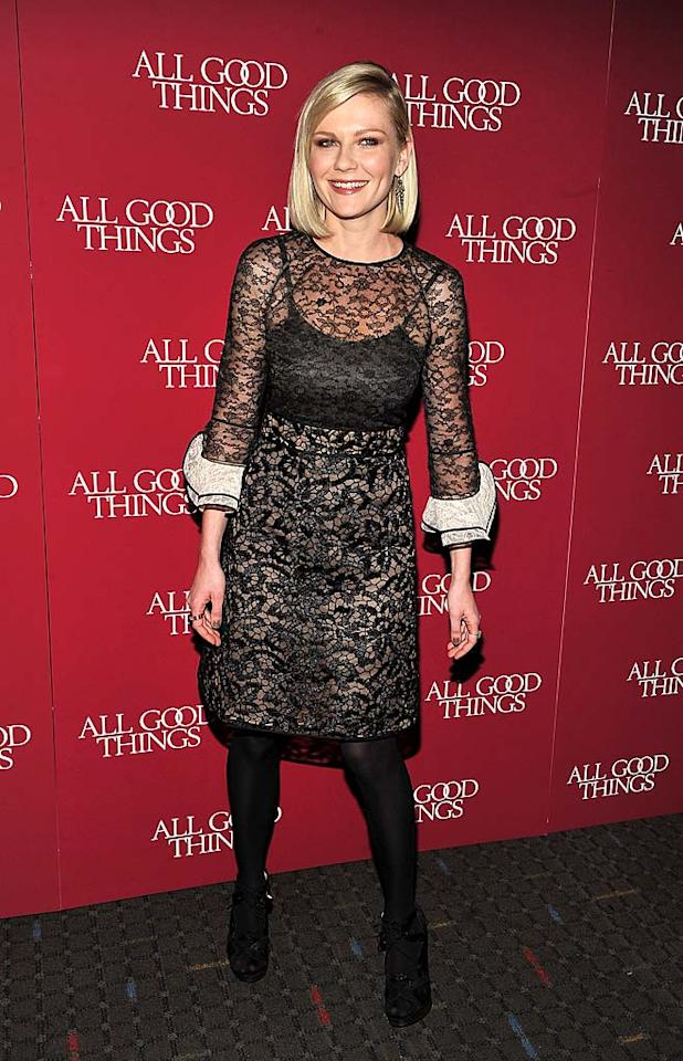 """<b>December</b>: Kirsten Dunst wore a lacy number to the New York premiere of her new flick, """"All Good Things."""" While we love Kiki's sleek bob, it was far too chic for her granny-like Valentino frock, which would have worked much better on a curtain rod. Theo Wargo/<a href=""""http://www.wireimage.com"""" target=""""new"""">WireImage.com</a> - December 1, 2010"""