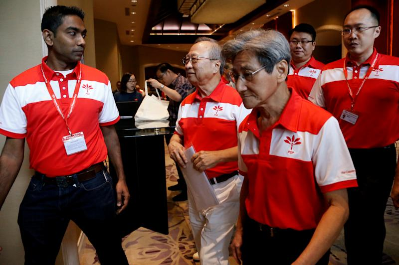 Members of the newly-launched Progress Singapore Party (PSP) and its leader Tan Cheng Bock are seen after a press conference in Singapore July 26, 2019. REUTERS/Feline Lim