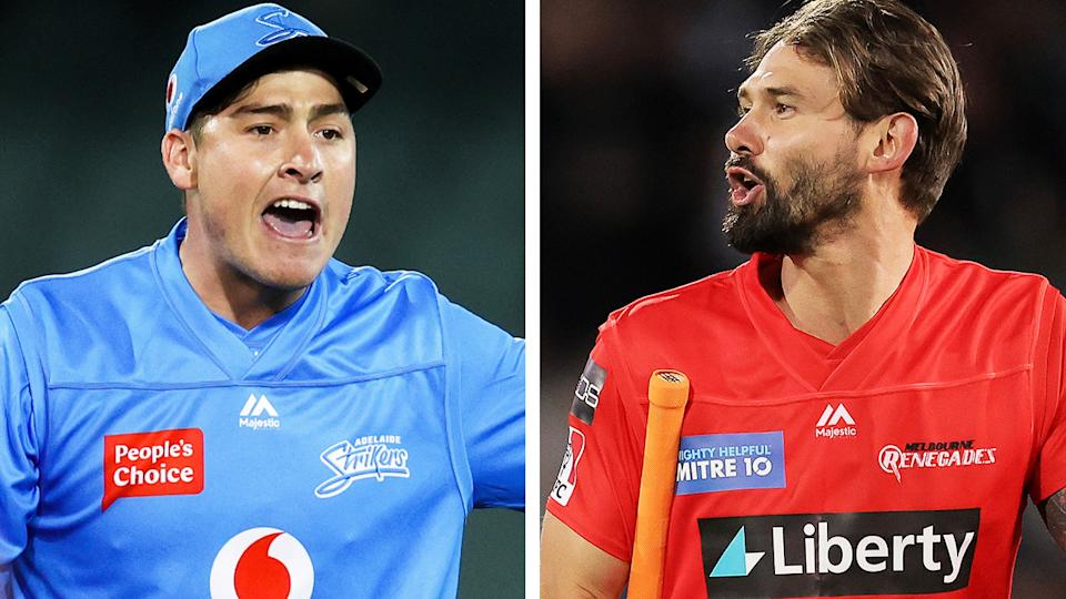 Adelaide's Matthew Renshaw and Melbourne Renegades' Kane Richardson were involved in an ugly war of words during Tuesday night's BBL clash. Pictures: Getty Images