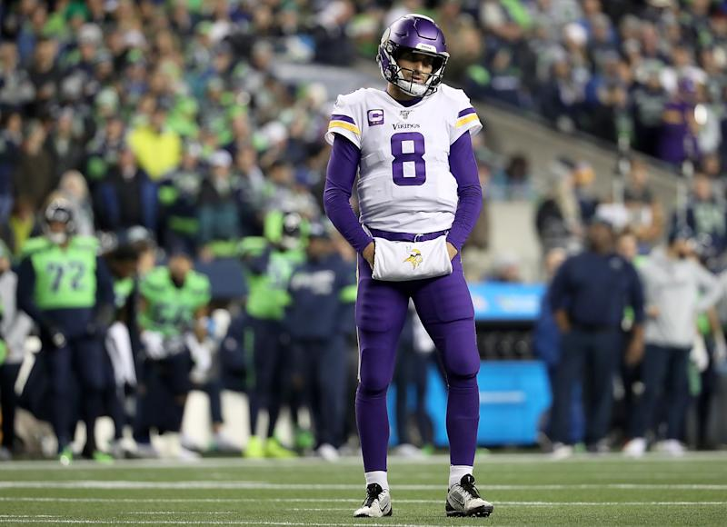 Quarterback Kirk Cousins of the Minnesota Vikings couldn't lead a late comeback win at Seattle. (Photo by Abbie Parr/Getty Images)