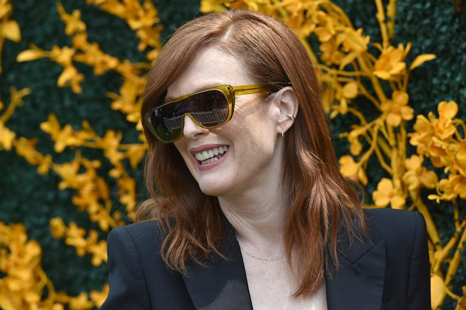 Julianne Moore attends the 12th Annual Veuve Clicquot Polo Classic in Liberty State Park, Jersey City, NJ, June 1, 2019. (Photo by Anthony Behar/Sipa USA)