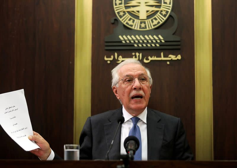 FILE PHOTO: Former Lebanese minister Ghazi Zeaiter speaks during a news conference in Beirut