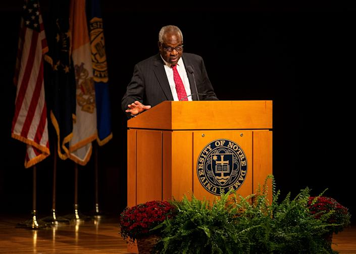 Supreme Court Justice Clarence Thomas speaks Thursday at the University of Notre Dame's DeBartolo Performing Arts Center in South Bend.