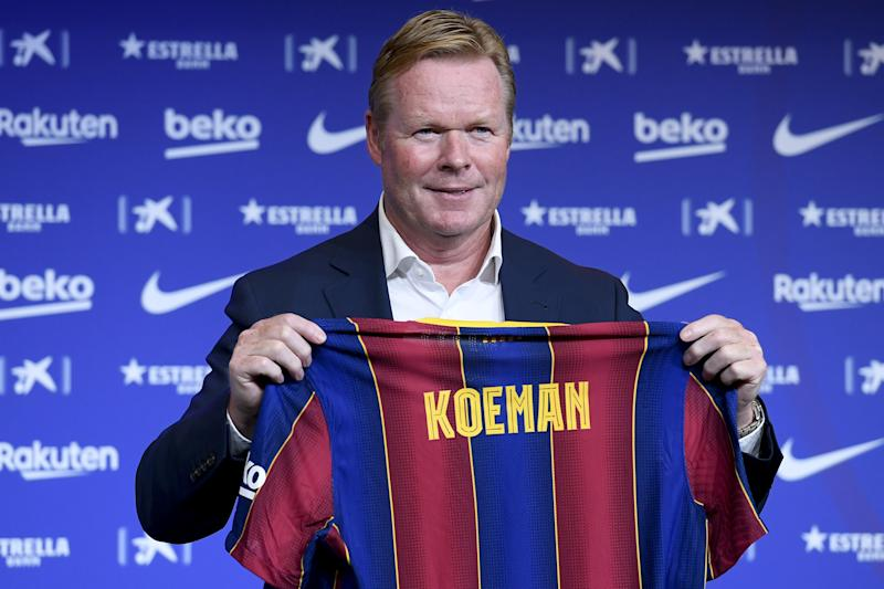 BARCELONA, SPAIN - AUGUST 19: Barcelona's new Dutch coach Ronald Koeman poses during his official presentation at the Camp Nou stadium in Barcelona on August 19, 2020. (Photo by Adria Puig/Anadolu Agency via Getty Images)