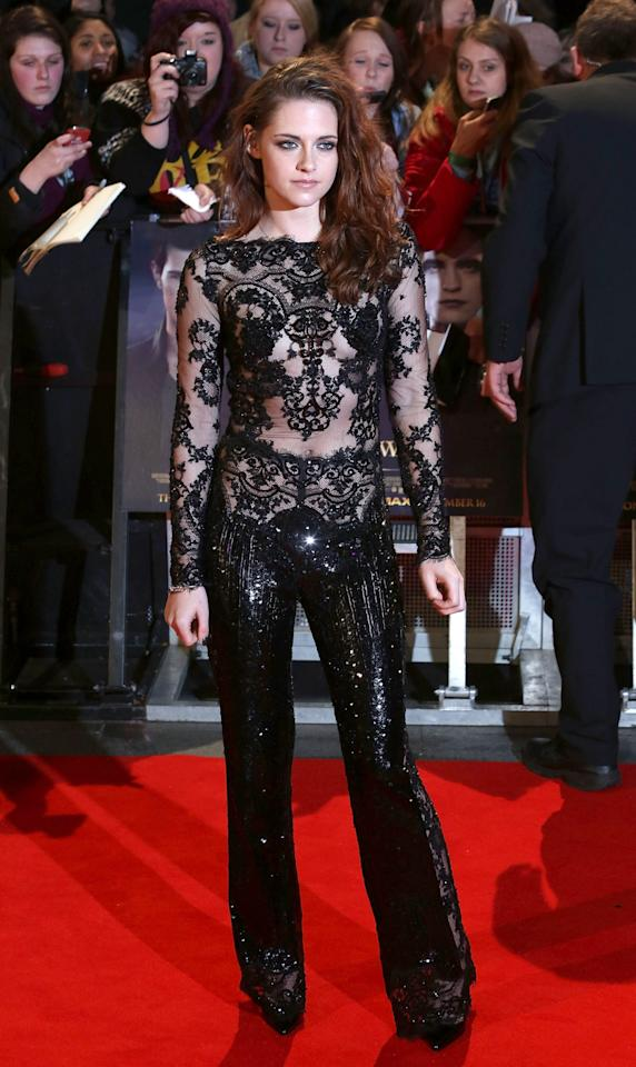 LONDON, ENGLAND - NOVEMBER 14:  Kristen Stewart attends the UK Premiere of 'The Twilight Saga: Breaking Dawn - Part 2' at Odeon Leicester Square on November 14, 2012 in London, England.  (Photo by Tim Whitby/Getty Images)