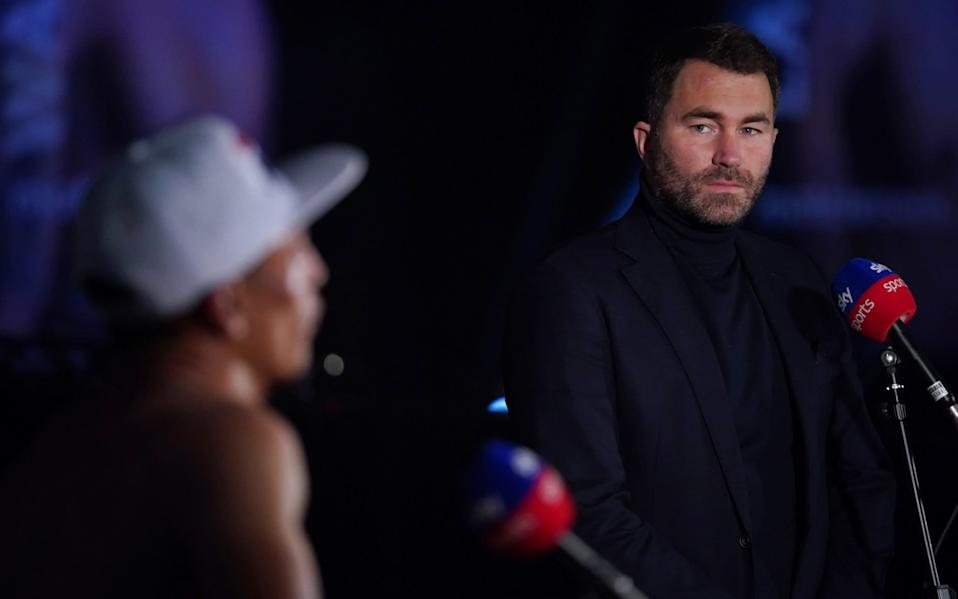 Eddie Hearn interviewed with the victor Mauricio Lara after the fight - Dave Thompson