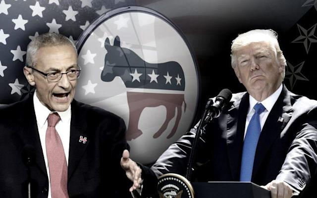 John Podesta, Donald Trump. (Yahoo News photo Illustration; photos: AP)