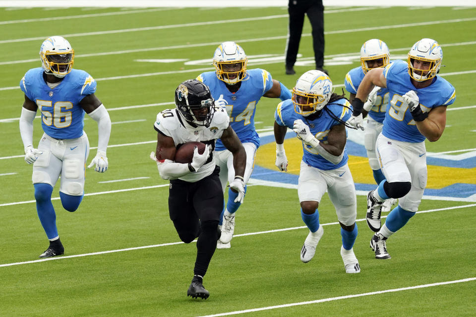 Jacksonville Jaguars running back James Robinson runs against the Los Angeles Chargers during the first half of an NFL football game Sunday, Oct. 25, 2020, in Inglewood, Calif. (AP Photo/Alex Gallardo)