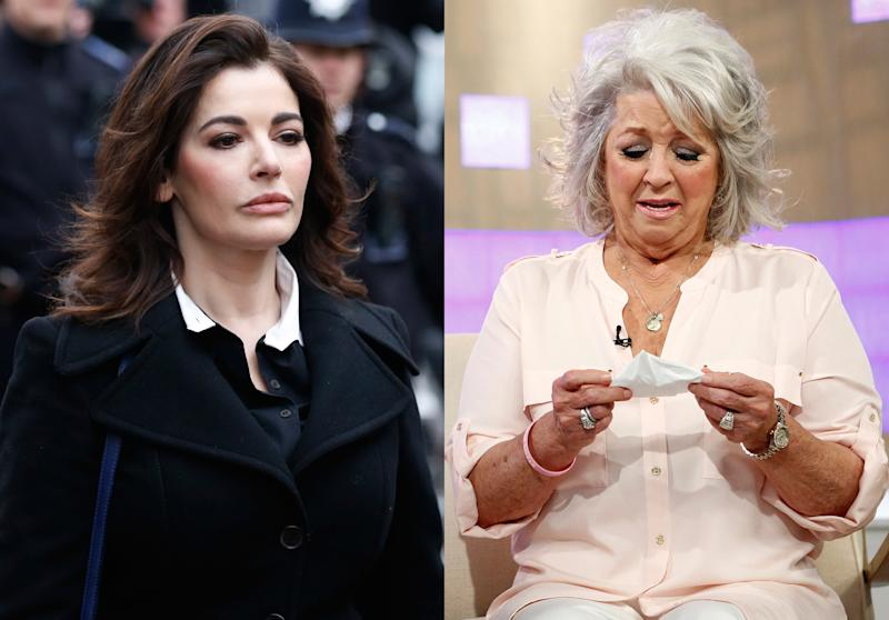 """FILE - This combination of 2013 file photos shows chefs, Nigella Lawson as she arrives at Isleworth Crown Court in London, left, and Paula Deen crying on NBC News' """"Today"""" show in New York. In 2013, both made unsavory admissions about their pasts after being accused of unsavory acts. Both found themselves at the center of a whirlwind of negative publicity and lawsuits. But while Deen's empire crumbled, Lawson has remained mostly unscathed. And the difference tells us much about the power of personal brand in 2013. (AP Photo/Sang Tan, NBC, Peter Kramer)"""
