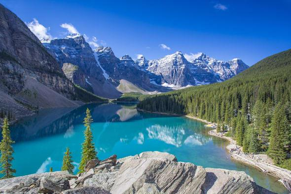 Moraine Lake in the Valley of the Ten Peaks, in Banff National Park in the Canadian Rockies in Alberta, Canada