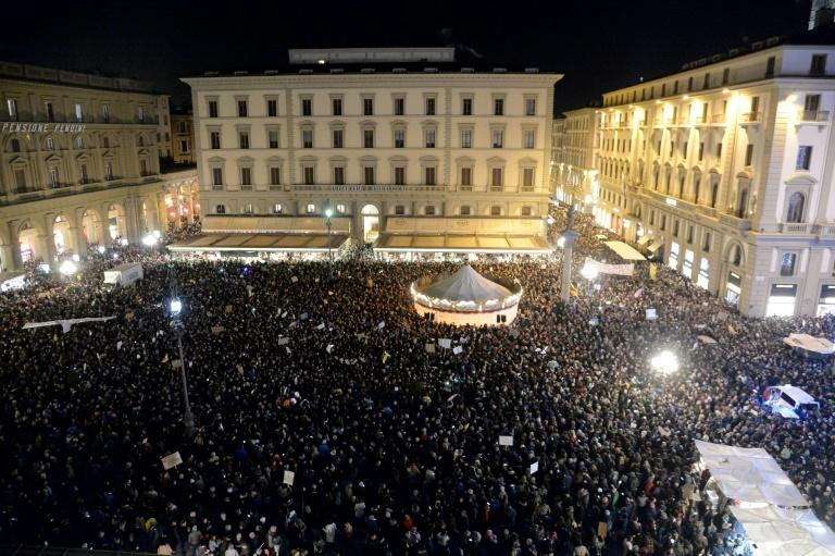 Thousands gathered in Florence's Piazza della Republic in answer to a call from the new 'Sardine Movement'