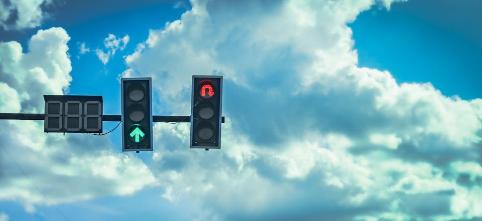 Red U-turn traffic light. Source: Getty Images