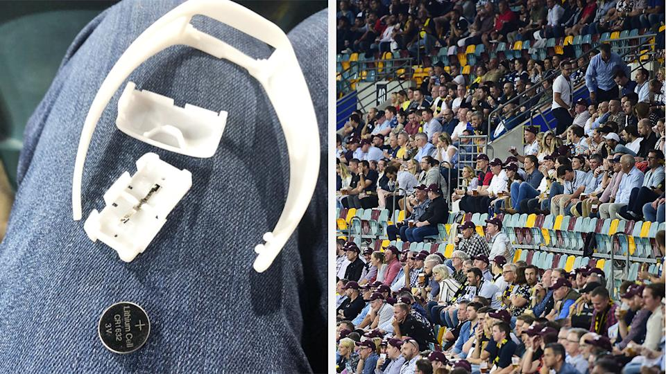 A 50-50 split image shows the LED wristband that has been recalled, and the crowd at the grand final.