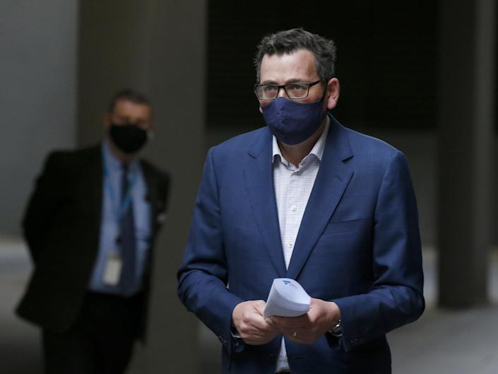 Victoria Premier Daniel Andrews arrives at the daily briefing in Melbourne, Australia: Getty Images
