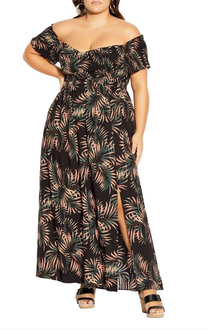 <p>The print of this <span>City Chic Yasmin Off the Shoulder Maxi Dress</span> ($109) gives it extra flair.</p>