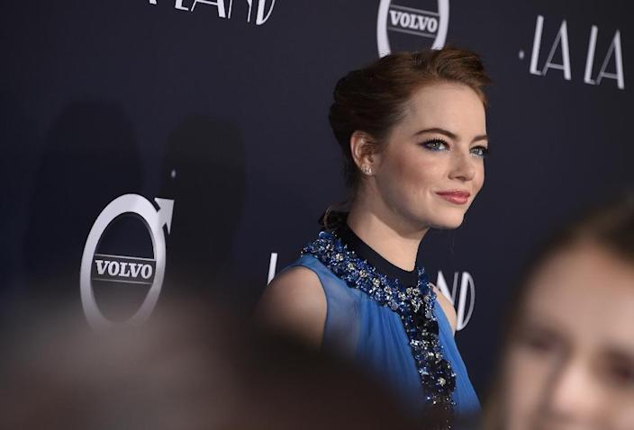 """Actress Emma Stone attends the premiere of Lionsgate's """"La La Land"""", which won a record seven Golden Globe awards earlier this month (AFP Photo/Robyn Beck)"""