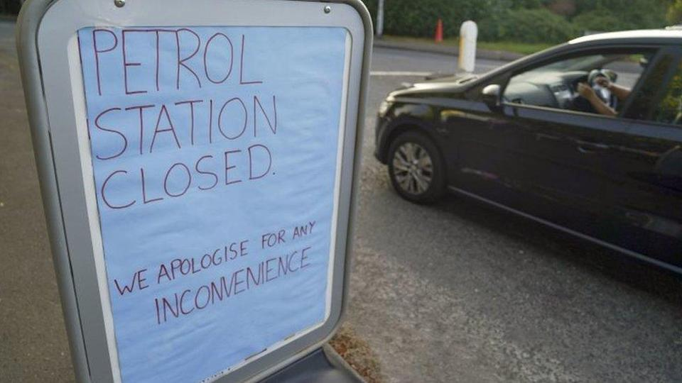 A sign outside a Tesco petrol station in Bracknell, Berkshire, on Friday