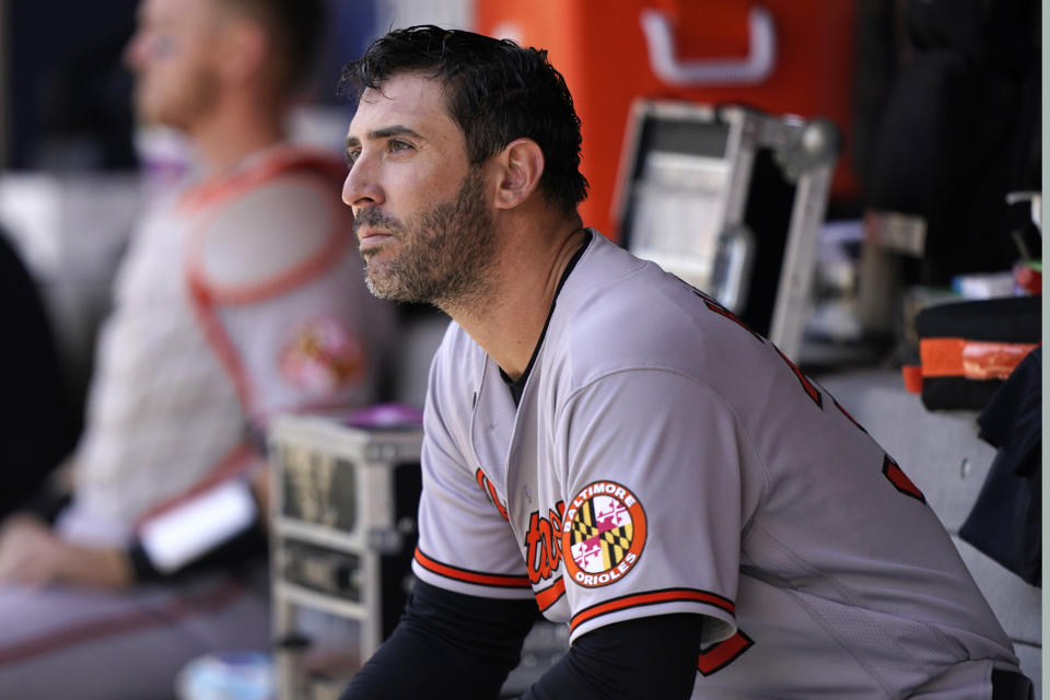 Baltimore Orioles starting pitcher Matt Harvey sits in the dugout during the first inning of a baseball game against the New York Mets, Wednesday, May 12, 2021, in New York. (AP Photo/Kathy Willens)