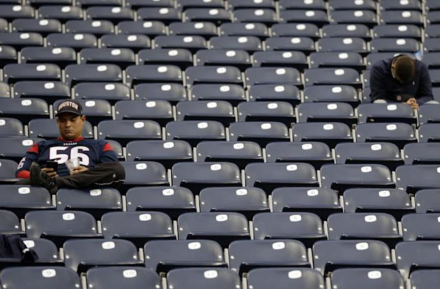 Houston Texans fans sit in the stands after an NFL football game against the Jacksonville Jaguars Sunday, Nov. 24, 2013, in Houston. The Jaguars won 13-6. (AP Photo/David J. Phillip)