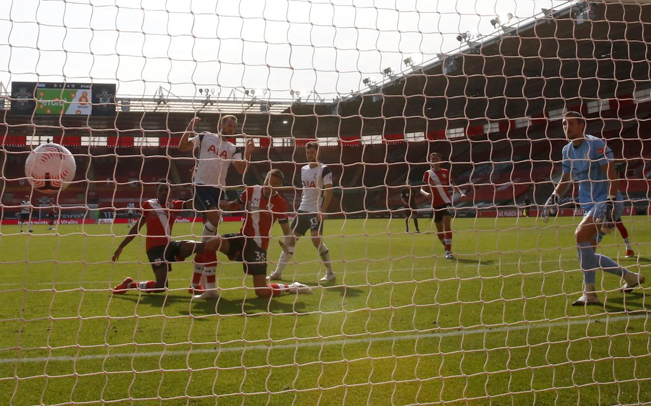 Tottenham Hotspur's Harry Kane scores his side's fifth goal of the game during the Premier League match at St Mary's Stadium, Southampton.