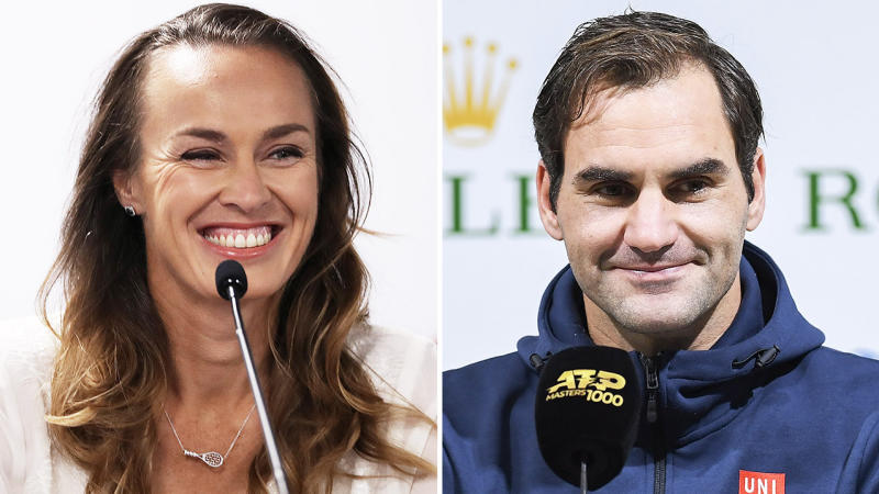 Martini Hingis (pictured left) smiling a press conference and Roger Federer (pictured right) speaking to the media.