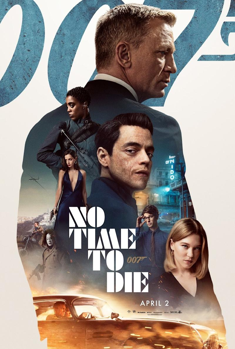 Bearing the film's original April release date, this No Time To Die poster went for a more modern poster style. (Universal/MGM/Eon)