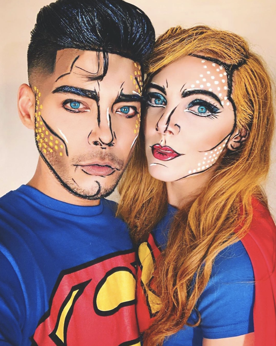 """<p>A little creativity with makeup, plus some spray-on hair color, will make you look like you jumped right out of a comic book. </p><p><a class=""""link rapid-noclick-resp"""" href=""""https://www.instagram.com/p/CCT26lgpvD1/"""" rel=""""nofollow noopener"""" target=""""_blank"""" data-ylk=""""slk:SEE MORE"""">SEE MORE</a></p><p><a class=""""link rapid-noclick-resp"""" href=""""https://www.amazon.com/Charmcode-Professional-Palette-Hypoallergenic-Facepaints/dp/B07W1X7SS8/?tag=syn-yahoo-20&ascsubtag=%5Bartid%7C10072.g.33547559%5Bsrc%7Cyahoo-us"""" rel=""""nofollow noopener"""" target=""""_blank"""" data-ylk=""""slk:SHOP FACE PAINT"""">SHOP FACE PAINT</a></p>"""