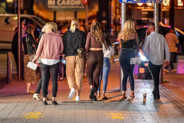 Young people out in Cardiff on Thursday night