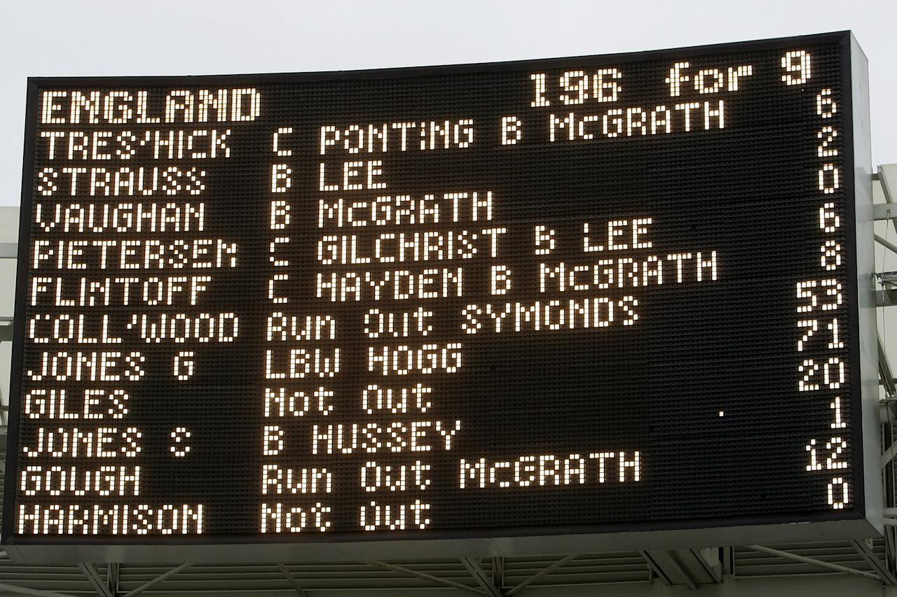 LONDON - JULY 2: The scoreboard is seen after the NatWest Series One Day International Final between Australia and England which ended in a draw at Lords on July 2, 2005 in London, United Kingdom.  (Photo by Tom Shaw/Getty Images)