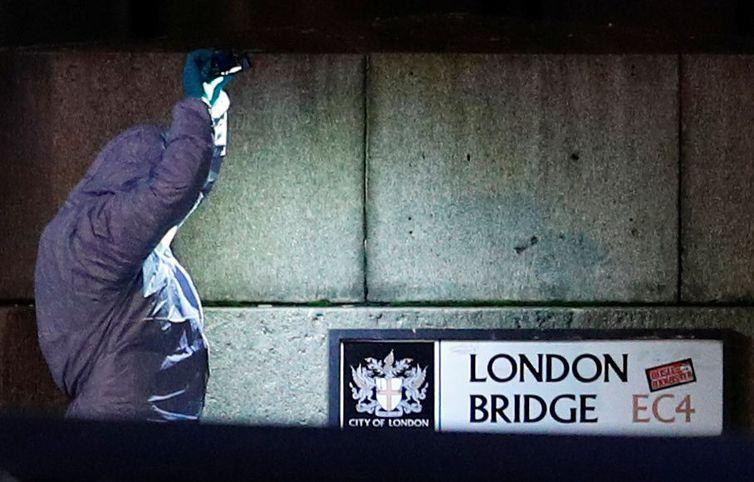A forensics officer is seen near the site of an incident at London Bridge in London, Britain, November 29, 2019. REUTERS/Peter Nicholls BEST QUALITY AVAILABLE