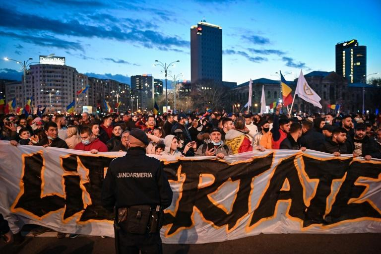 People are continuing to protest coronavirus restrictions, such as here in Romania