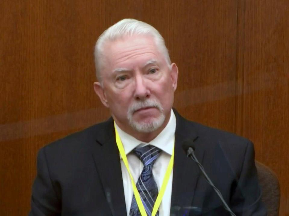 <p>In this image from video, Barry Brodd, a use of force expert testifies as Hennepin County Judge Peter Cahill presides, Tuesday 13 April 2021</p> ((Associated press))