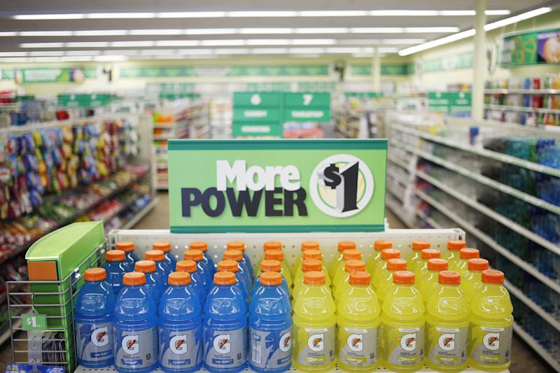 PepsiCo Inc. Gatorade brand sports drinks sit on display for sale at a Dollar Tree Inc. store in Louisville, Kentucky, U.S., on Friday, Aug. 24, 2018. Dollar Tree Inc. is scheduled to release earnings figures on August 30. Photographer: Luke Sharrett/Bloomberg via Getty Images