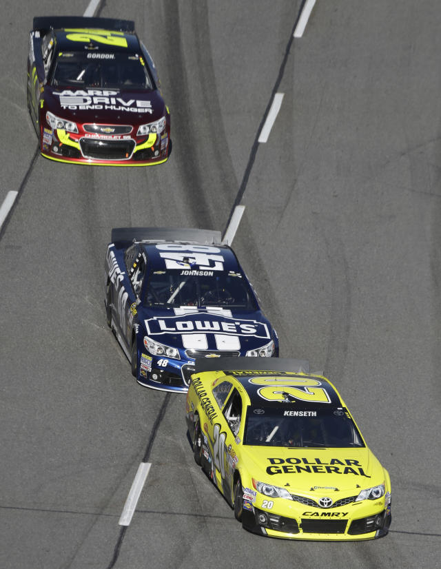 Sprint Cup Series driver Matt Kenseth (20) is followed by Jimmie Johnson (48) and Jeff Gordon (24) during the early going of the NASCAR Sprint Cup auto race at Martinsville Speedway in Martinsville, VA., Sunday, Oct. 27, 2013. (AP Photo/Steve Helber)