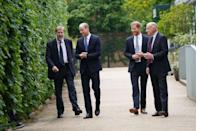 <p>William and Harry meet with Rupert Gavin, chairman of Historic Royal Palaces, and Jamie Lowther-Pinkerton, the former private secretary to the Duke and Duchess of Cambridge and to Prince Harry, who sat on the statue committee.</p>