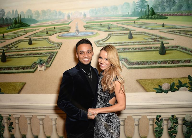 """Aston Merrygold and Sarah Richards revealed they were expecting their first child together. They posted a series of photos on Instagram with the poem: """"Could be pink, could be blue, all we know is that we are due."""""""