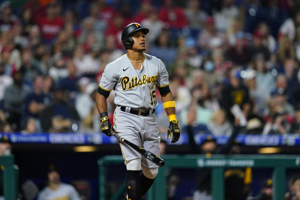 Pittsburgh Pirates' Wilmer Difo watches after hitting a two-run home run against Philadelphia Phillies pitcher Cam Bedrosian during the seventh inning of a baseball game, Friday, Sept. 24, 2021, in Philadelphia. (AP Photo/Matt Slocum)