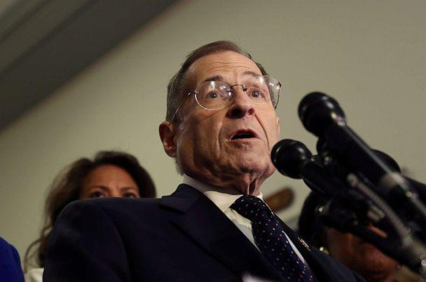 PHOTO: Jerry Nadler (D-NY) makes a statement with some of his colleagues after the House Judiciary Committee voted to hold U.S. Attorney General William Barr in contempt of Congress for not responding to a subpoena on Capitol Hill, May 8, 2019. (Leah Millis/Reuters)