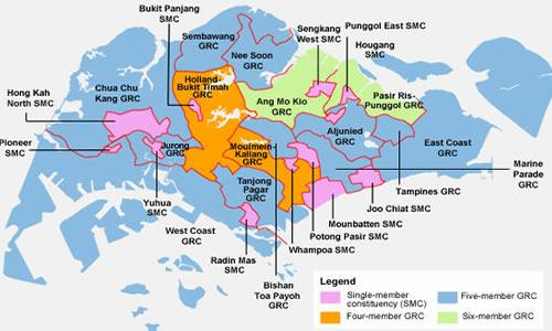 Map of electoral boundaries for S'pore's 2011 General Elections. (Yahoo!)