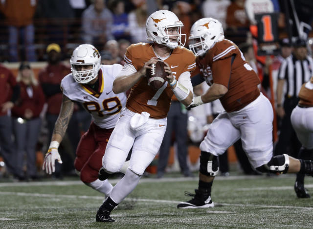 "Former Texas quarterback <a class=""link rapid-noclick-resp"" href=""/ncaaf/players/263594/"" data-ylk=""slk:Shane Buechele"">Shane Buechele</a> played three seasons with the Longhorns. (AP Photo/Eric Gay)"