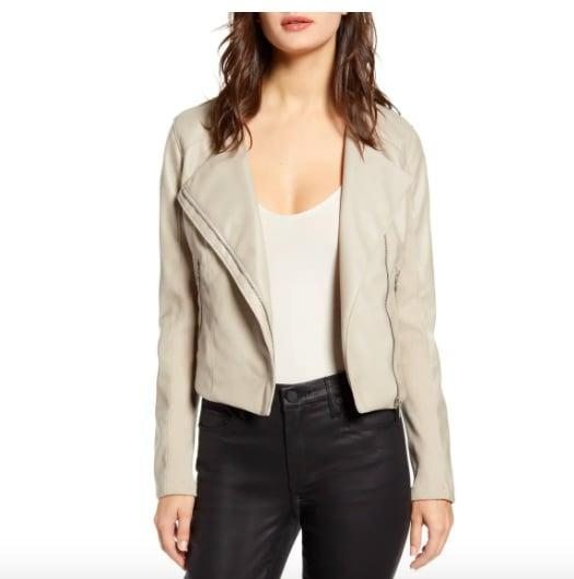<p>Get this <span>BLANKNYC Record Breaker Collarless Faux Leather Moto Jacket </span> ($59, originally $98) before it sells out.</p>